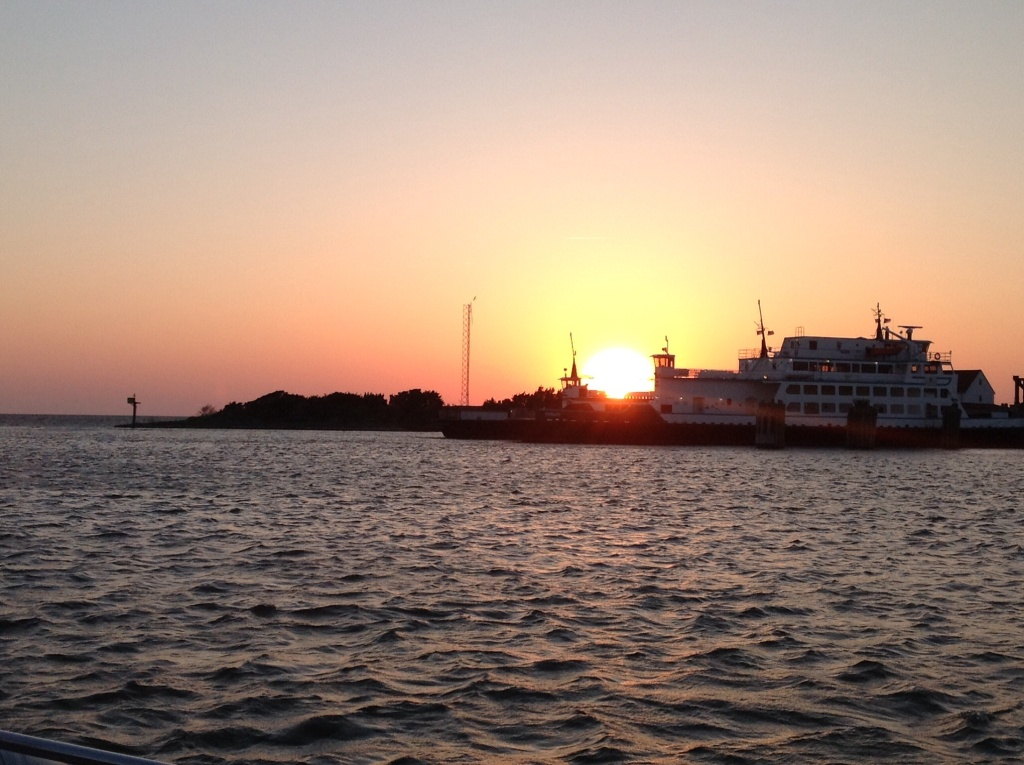 Sun setting over the ferry docks.