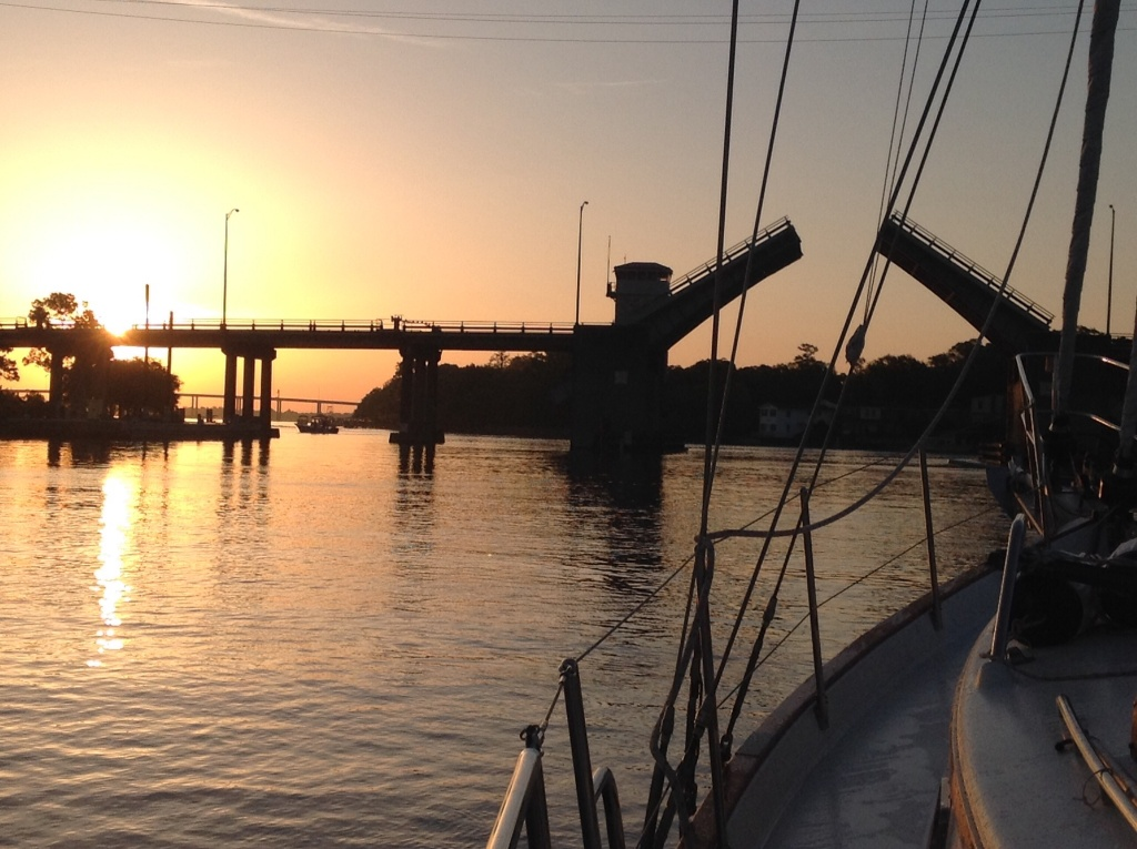 A bridge opening at sunrise. We've had very early starts lately!