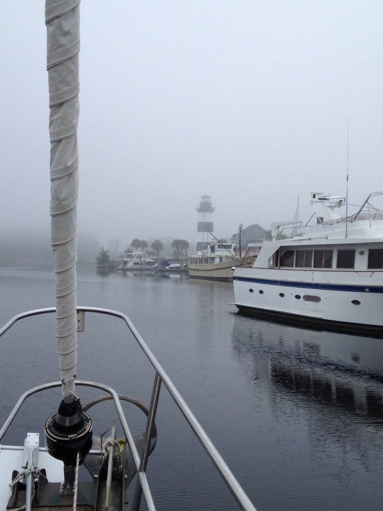 A foggy departure from Myrtle Beach Yacht Club - stayed this way for only an hour.