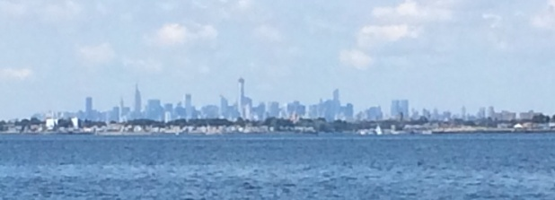 Great visibility leaving Port Washington - NYC visible behind us!