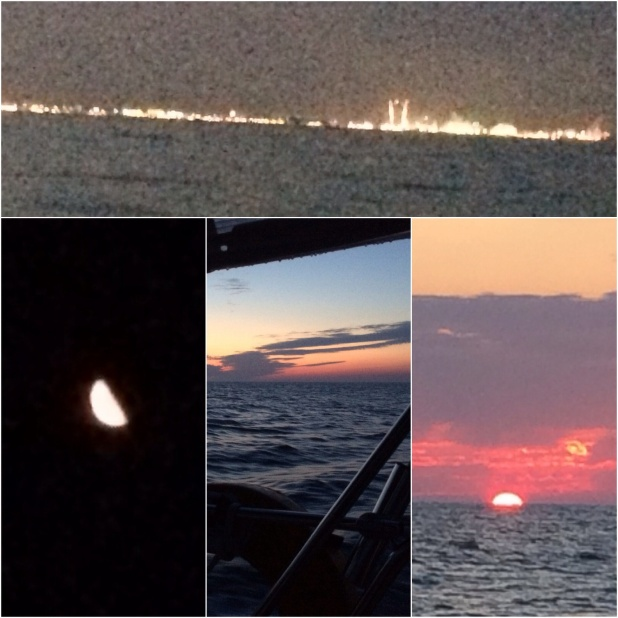 Overnight up the New Jersey Coast - lights from the shore town, an assist from the moon, dawn , and then (gratefully) sunrise.
