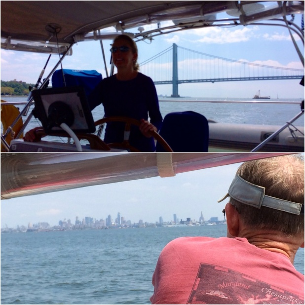 Ems at the wheel for the first part of NYC; Frank admiring the first sight of the city.