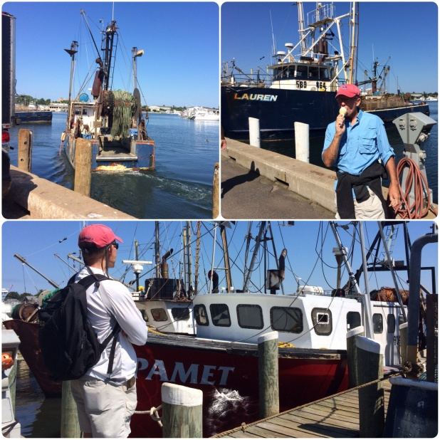 The harbor front in Hyannis. Frank's favorite things: looking at fishing boats and eating ice cream!