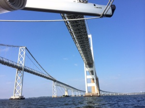 Sailing back under the Chesapeake Bay Bridge - coming home.