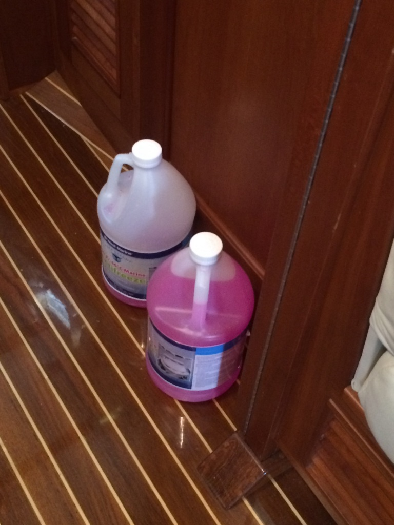 We went through MANY gallons of the pink antifreeze. It goes in all systems that use water, including engines. We did as much as we could before Eleanor Q's last trip.