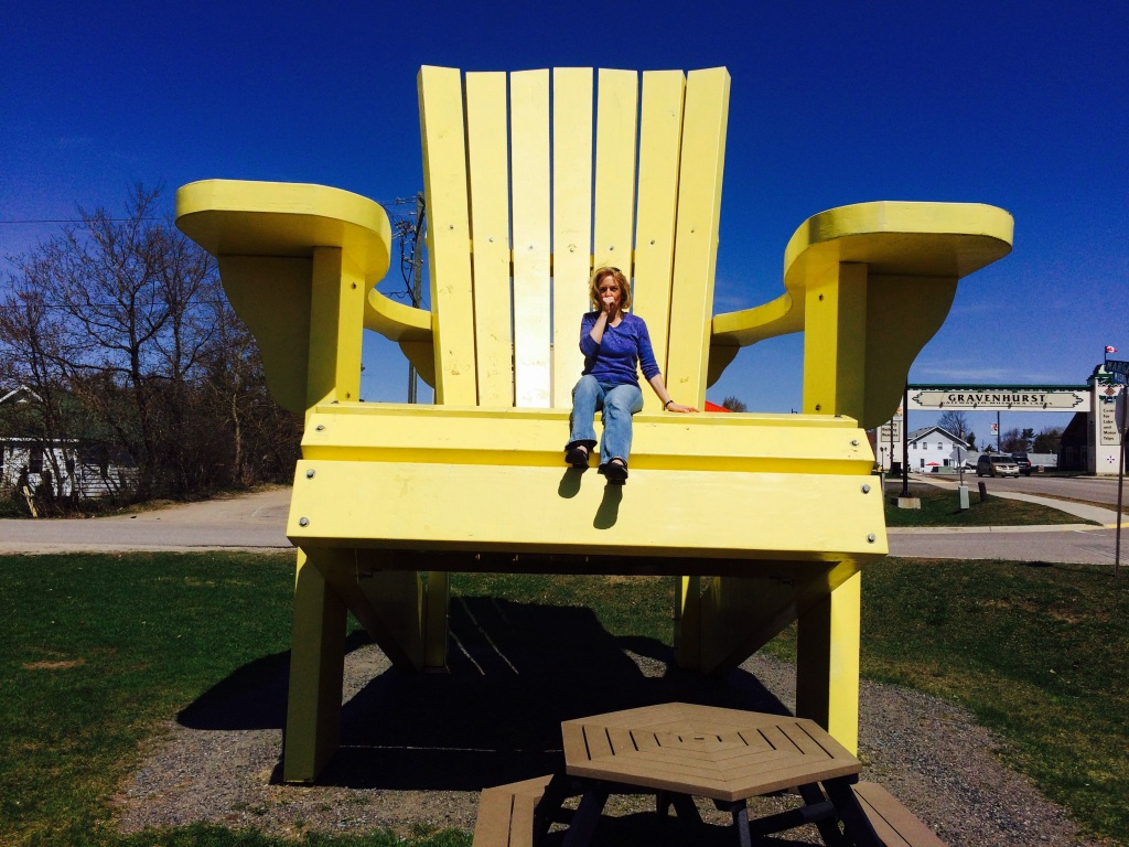 After passing this giant Adirondack chair several times, I had to try sitting in it after the snow had melted off of it! Who remembers Edith Ann from